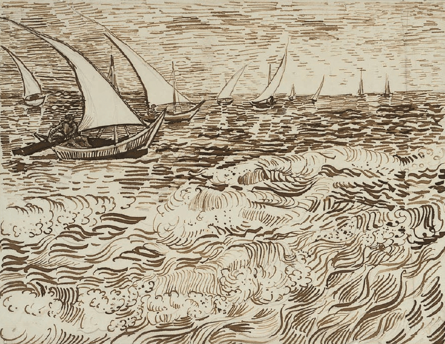 Boats on the Sea - by Vincent van Gogh