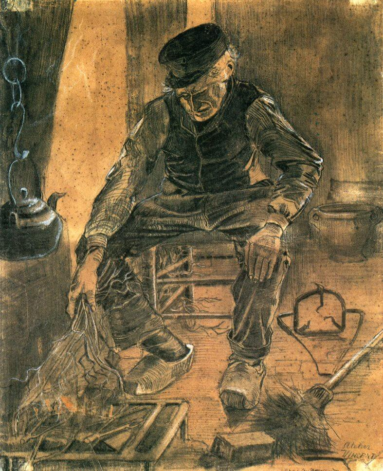 Old Man Putting Dry Twigs on the Fire - by Vincent van Gogh