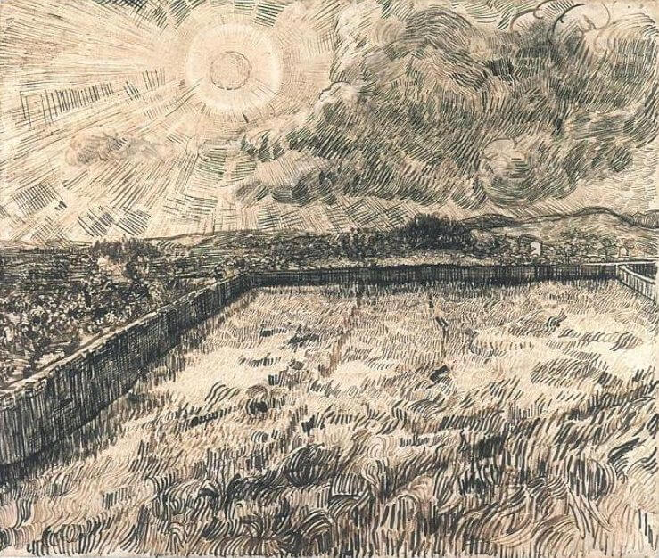 Sun Over Walled Wheat Field by Vincent Van Gogh
