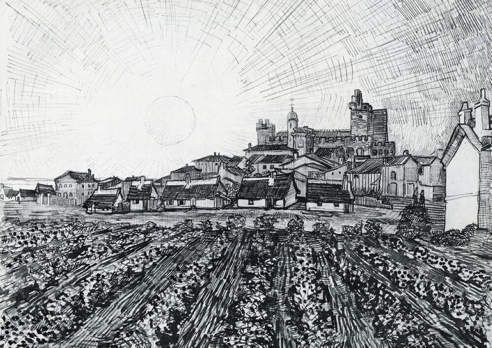 View of Saintes Maries with Church and Ramparts - by Vincent van Gogh