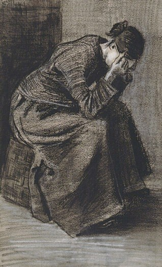 Weeping Woman Seated on a Basket - by Vincent van Gogh