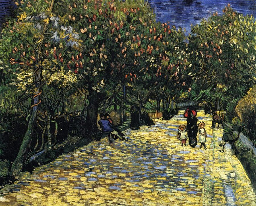 Avenue with Flowering Chestnut Trees, 1889 by Van Gogh