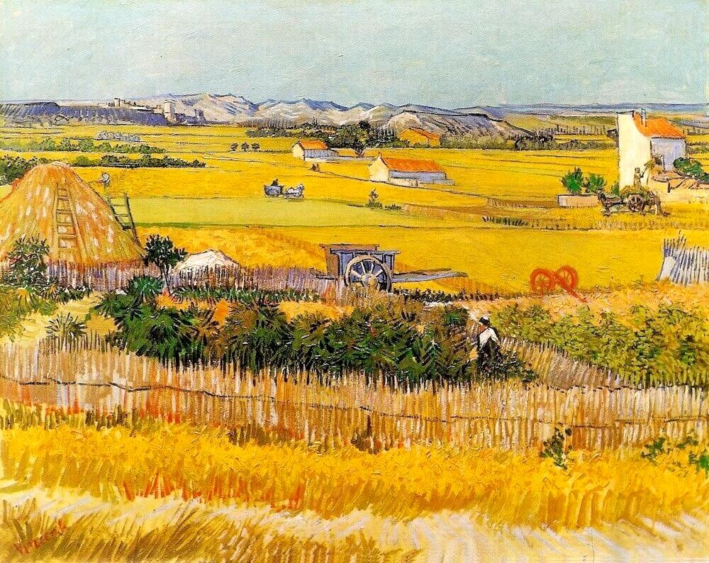 Harvest at La Crau, 1888 by Vincent Van Gogh