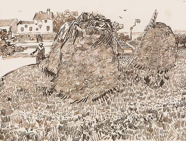 Haystacks in Provence Drawing, 1888 by Van Gogh