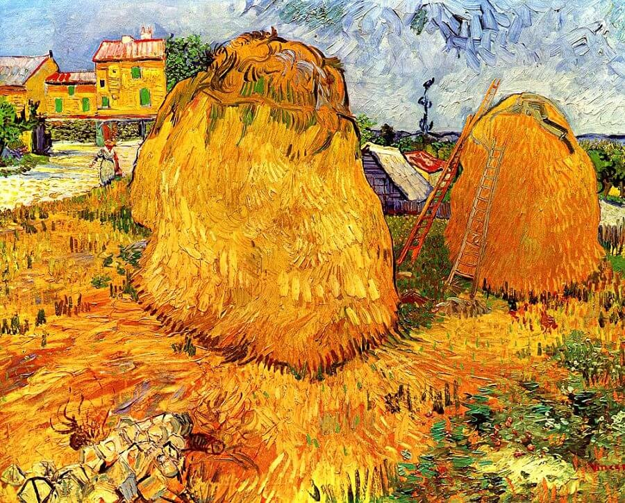 Haystacks in Provence, 1888 by Van Gogh