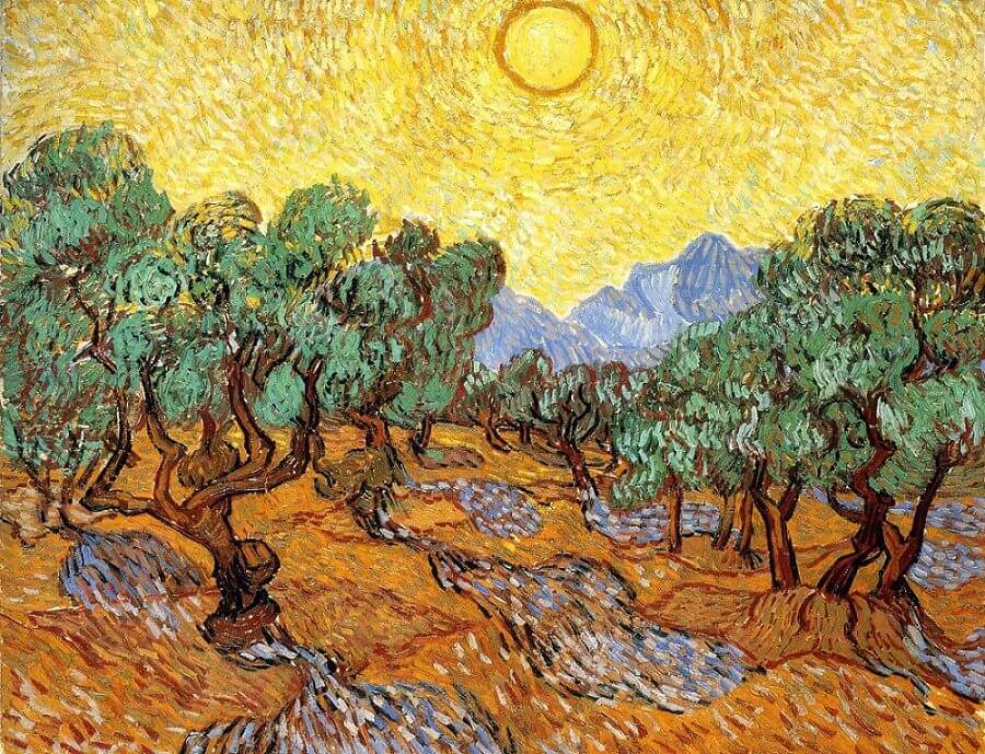 Olive Trees With Yellow Sky And Sun, 1889 by Vincent Van Gogh