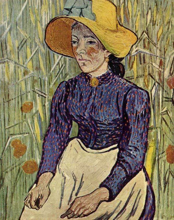 Peasant Woman Against a Background of Wheat, 1890 by Vincent Van Gogh