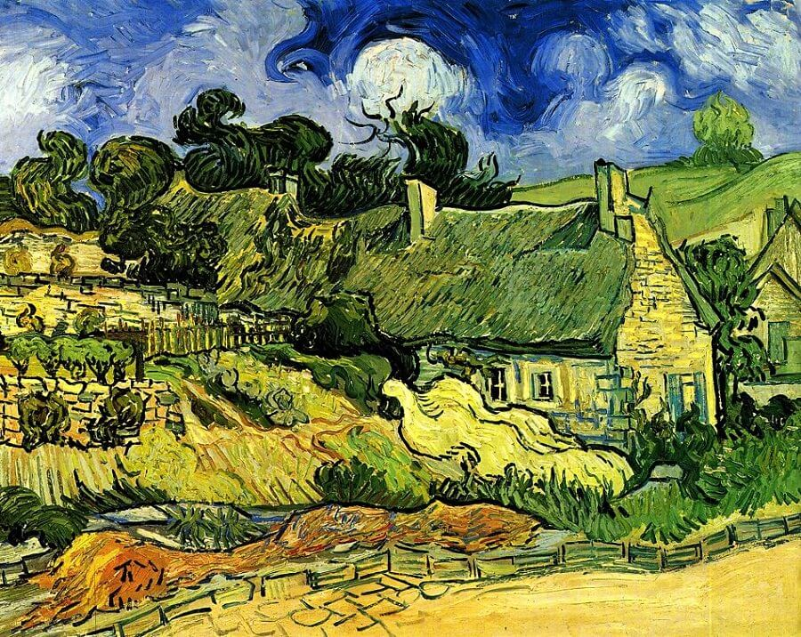Thatched Cottages at Cordeville, 1890 by Vincent Van Gogh