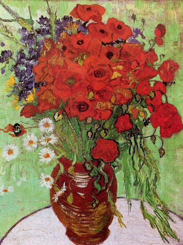 Vase with Red Poppies and Daisies, 1890 by Vincent Van Gogh