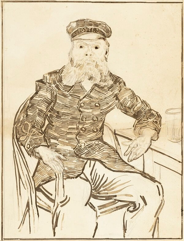 Portrait of the Postman Joseph Roulin Drawing - by Vincent van Gogh